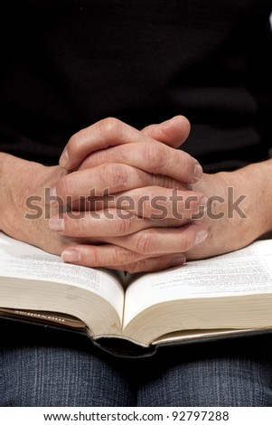 woman reading the bible - stock photo