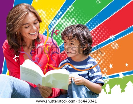 Woman reading to her son over a colorful background - stock photo