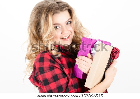 Woman receive gifts