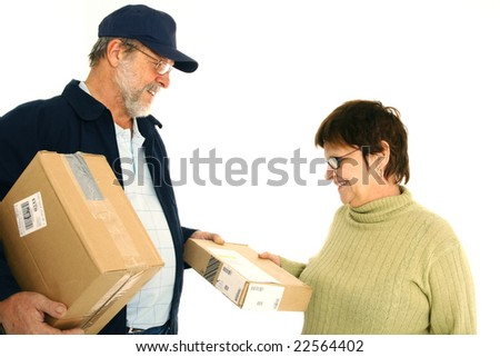 woman receiving a package - stock photo