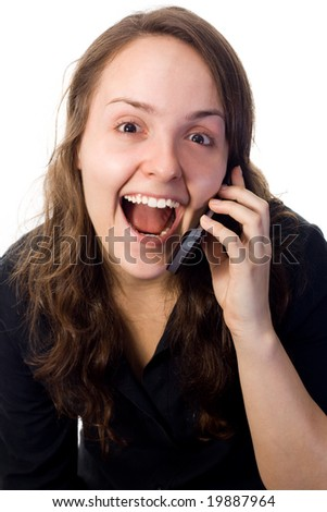 Woman receiving a surprising phone call. White background.