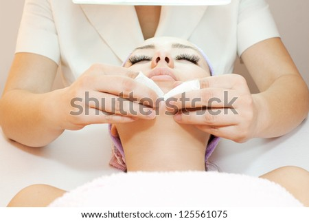 Woman receiving cleansing therapy - stock photo