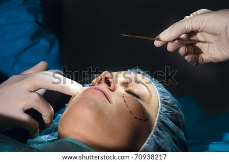 Woman receiving Plastic Operation