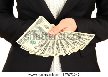 Woman recounts dollars, close up - stock photo