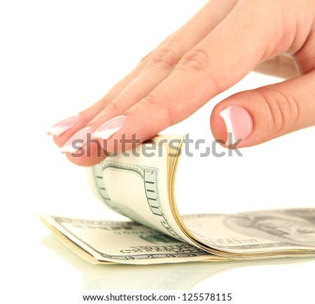 Woman recounts dollars, close up, isolated on white - stock photo