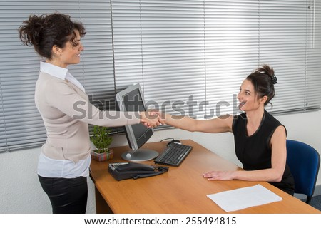 Woman recruiter checking the candidate during job interview - stock photo