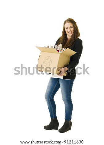Woman Recycling Paper isolated on white background - stock photo