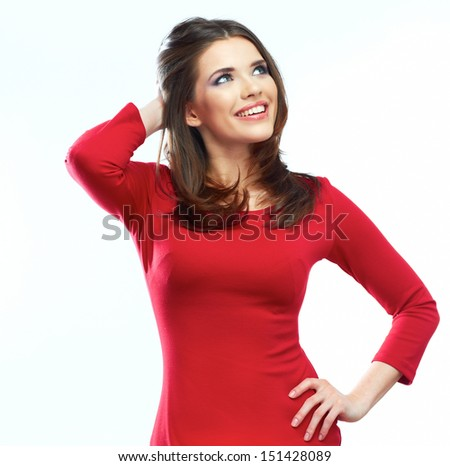 Woman red dress portrait isolated on white background. Smiling beautiful girl. Female model. - stock photo