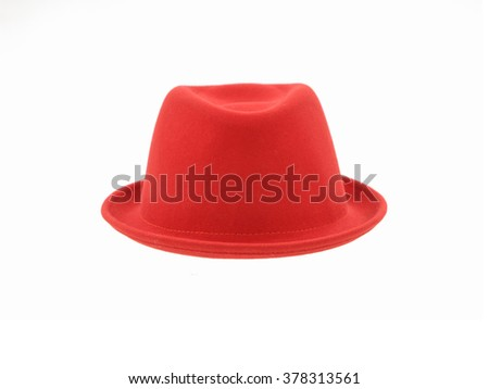 Woman red hat isolated    - stock photo