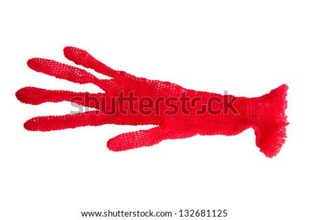 woman red lace gloves isolated on white