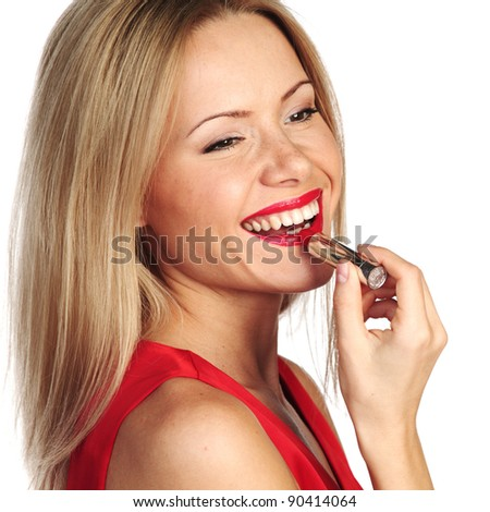 woman red lipstick isolated on white - stock photo