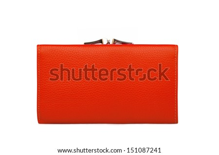 Woman red purse (wallet) isolated on the white background - stock photo