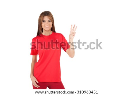 woman red t-shirt - Stock Image