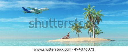 Woman relax on a tropical island and look to an airplane in flight. This is a 3d render illustration