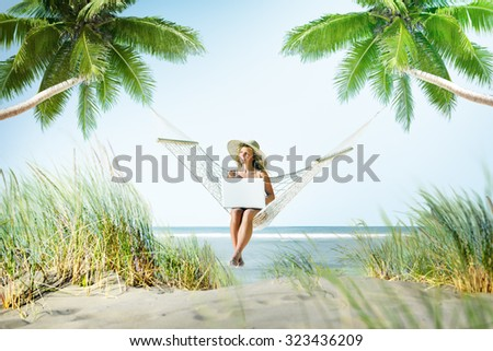 Woman Relaxation Beach Working Enjoyment Concept - stock photo
