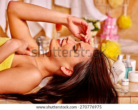 Woman relaxing at home luxury bath. Close up. - stock photo
