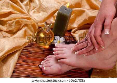 Woman relaxing at the spa - stock photo