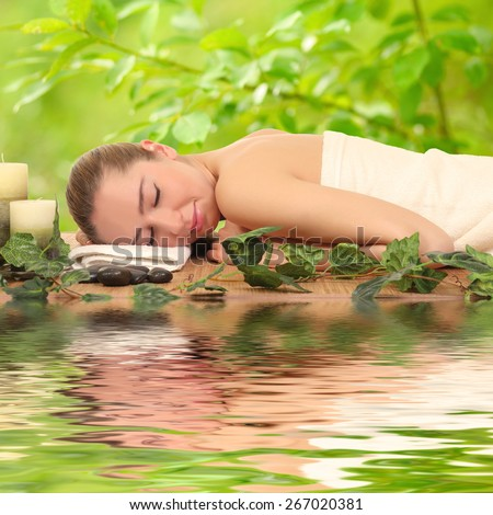 woman relaxing in a spa . Beauty and relaxation - stock photo