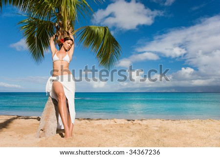 woman relaxing on beautiful sandy beach with palm tree - stock photo