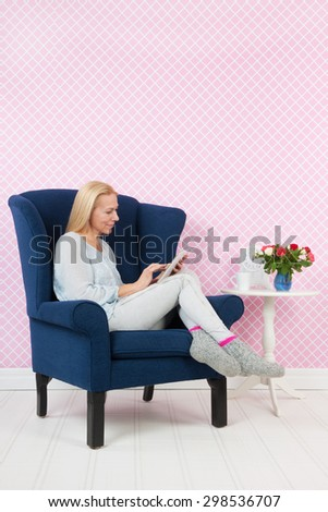 Woman Relaxing Digital Tablet Living Room Stock Photo 298536707 ...