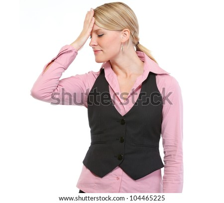 Woman remembered something important - stock photo