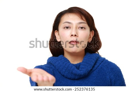 woman requests something - stock photo