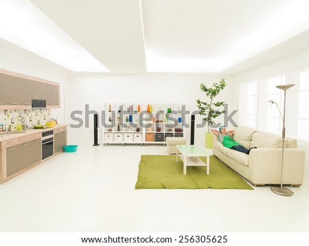 woman resting on sofa after home cleaning - stock photo