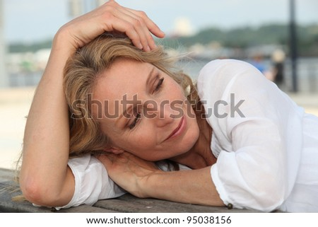 Woman resting outside