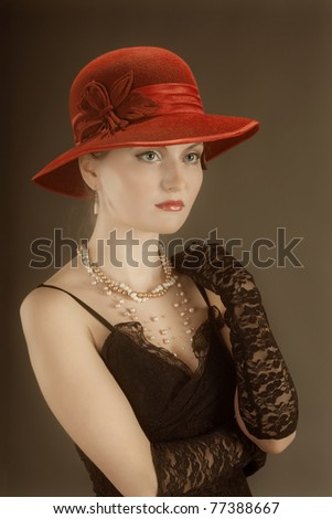 Woman retro revival portrait.girl in hat - stock photo