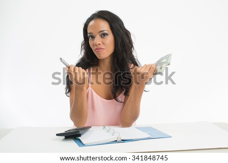 Woman reviewing their finances