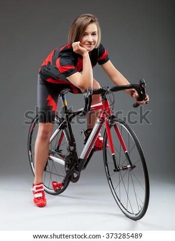 Woman riding a sport bike  - stock photo