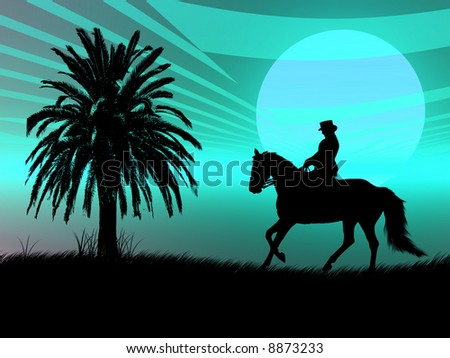 Woman riding with her horse in the night - stock photo