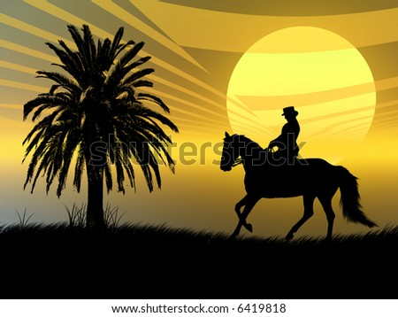 Woman riding with her horse in the sunset - stock photo