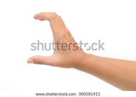 Woman right hand hold card, credit, blank paper or other isolated on white background. Female right hand showing empty space for your choice - stock photo