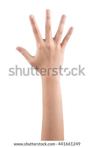 Woman right hand showing the five fingers isolated on a white background - stock photo
