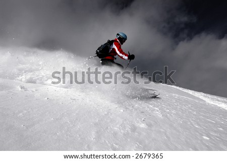 Woman ripping powder turns in Utah resort - stock photo