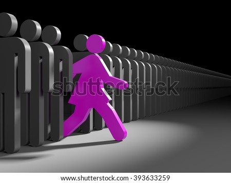 Woman run to new opportunities - stock photo
