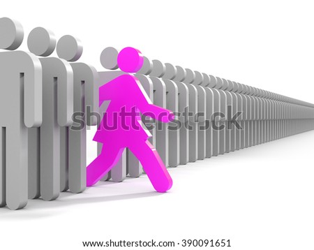 Woman run to new opportunities - business metaphor - stock photo