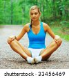 Woman runner exercising, from a complete series of photos. - stock photo