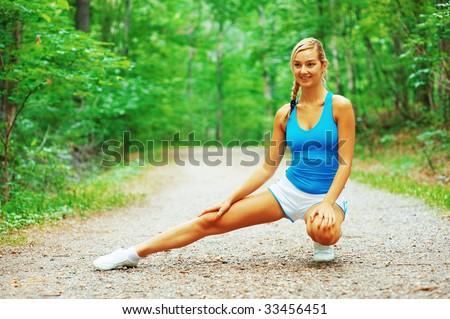 Woman runner exercising, from a complete series of photos.