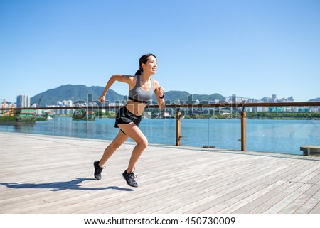 Woman running at outdoor