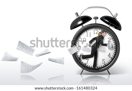 Woman running in a giant clock, concept