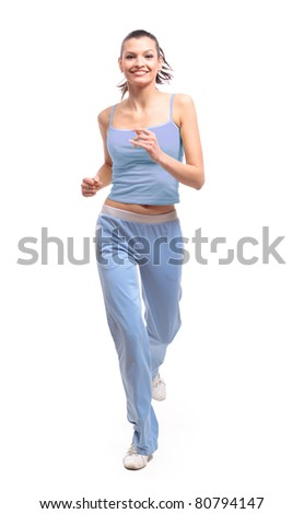 woman running isolated on white - stock photo