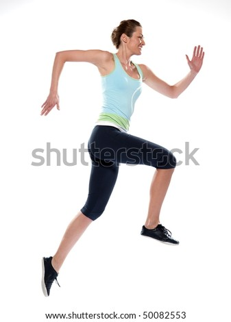 woman running on studio white isolated background - stock photo
