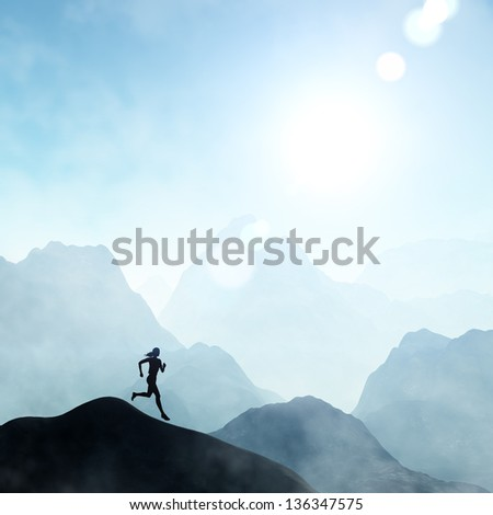 Woman running outside in beautiful nature - stock photo