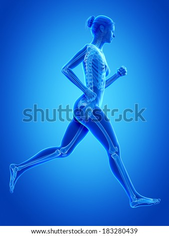 woman running - visible anatomy of the skeleton - stock photo