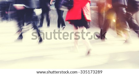 Woman Rushing In a City Walking People Crowd Concept