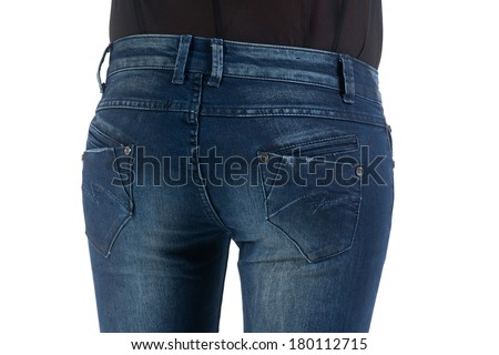 Woman's back in blue jeans