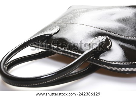 Woman's Black Leather Bag Isolated On White Background - stock photo