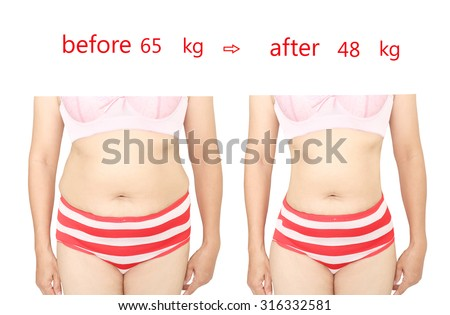 Woman's body before and after a diet. - stock photo